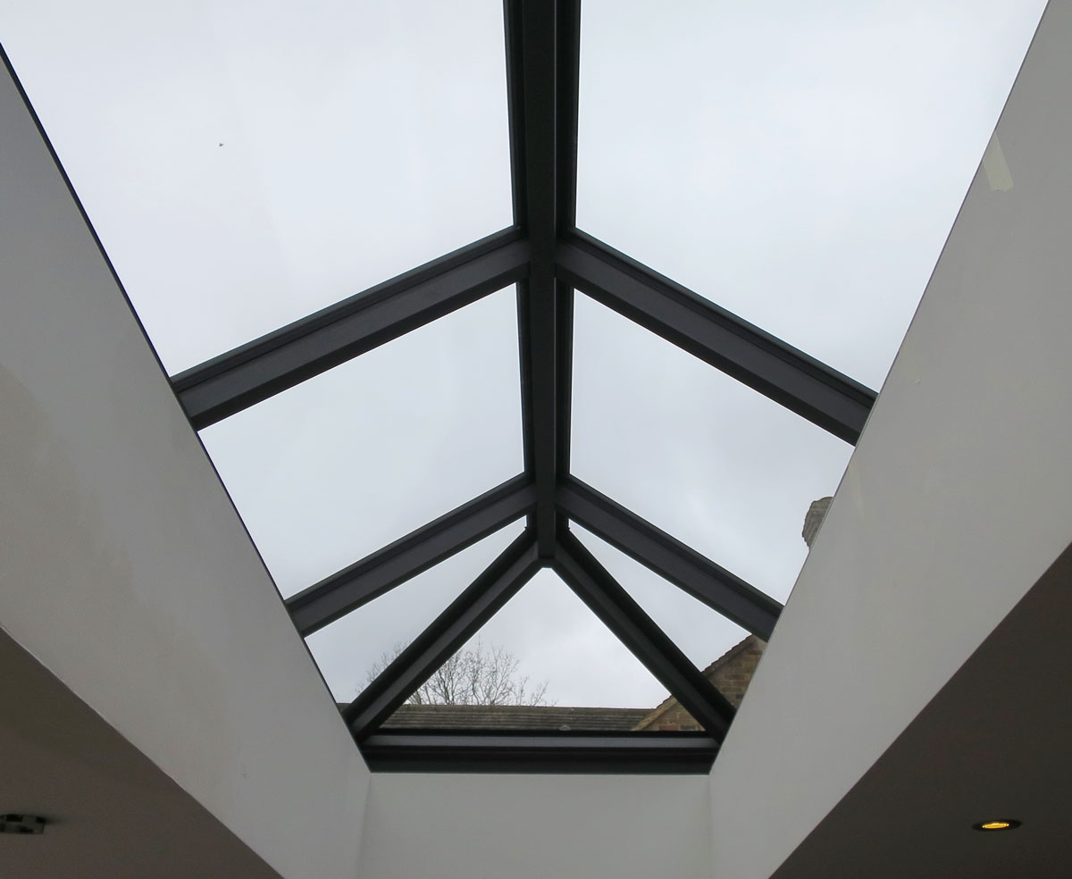 Alumen Lantern from inside showing 50mm rafters and 65mm ridge.