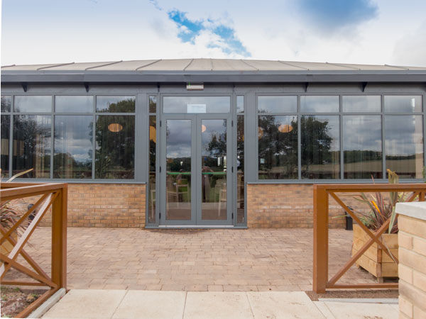 Aluminium French Doors in light commercial use.