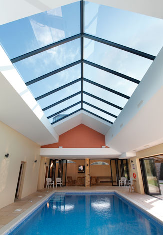 Internal view showing large roof and bifolding doors