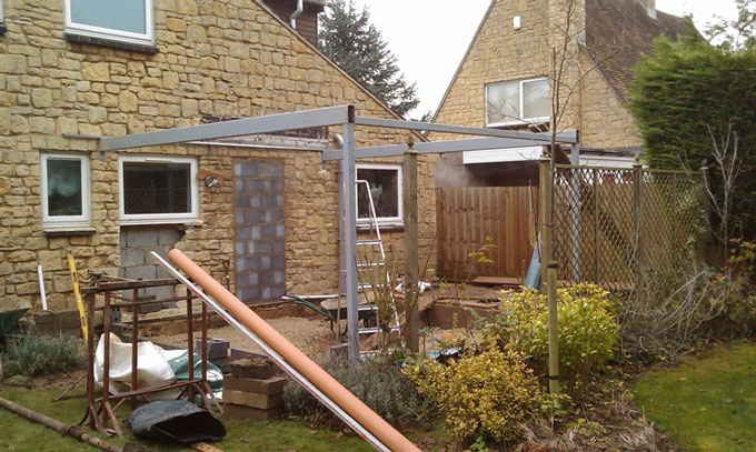 A Portal frame was necessary to support the roof above the bifolding doors and overcome the need for a tie bar