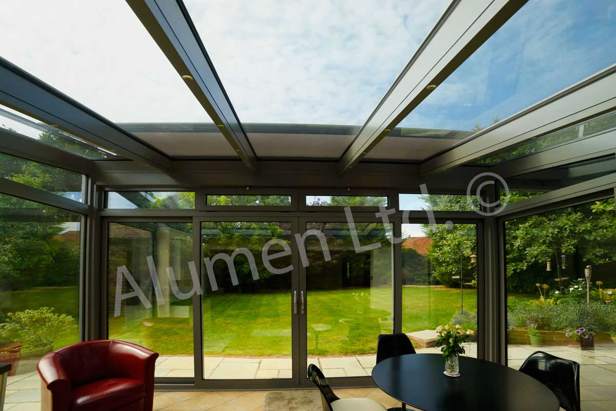 Conservatory rafters are fitted with integral lighting channel