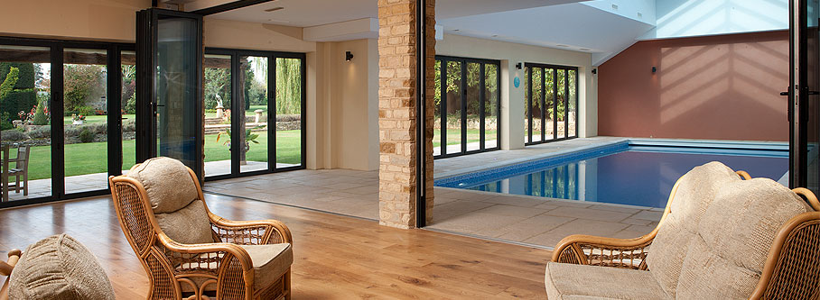In total there are 6 sets of bifolding doors in the swimming pool area