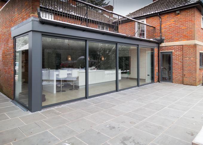 Smart visoglide inline sliding patio door aluminium for Three pane sliding glass door