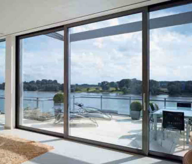 Inline aluminium sliding doors aluminium patio doors for Lift and slide doors cost